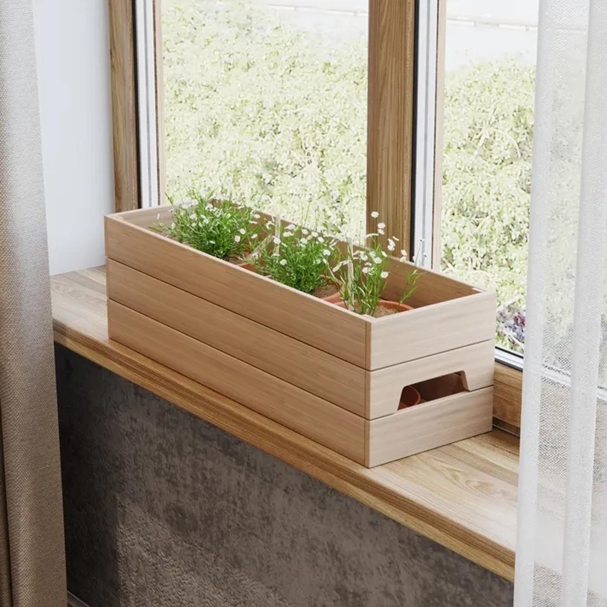 Ящик для цветов из дуба, 64x19,5x21,2 см