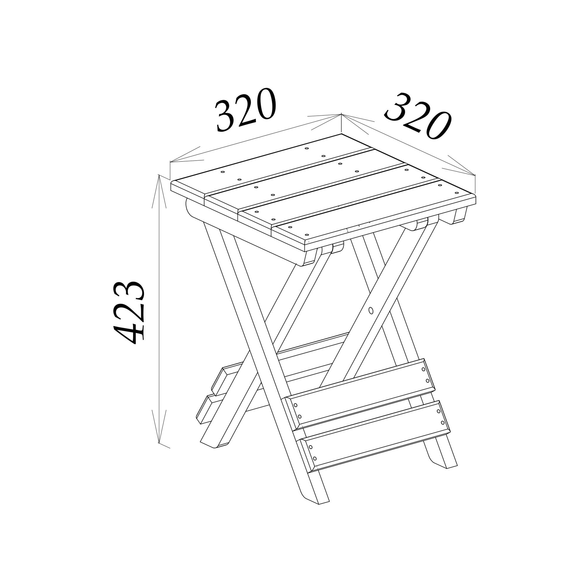 Табурет складной из дуба 32.9x42.3x32.9 см