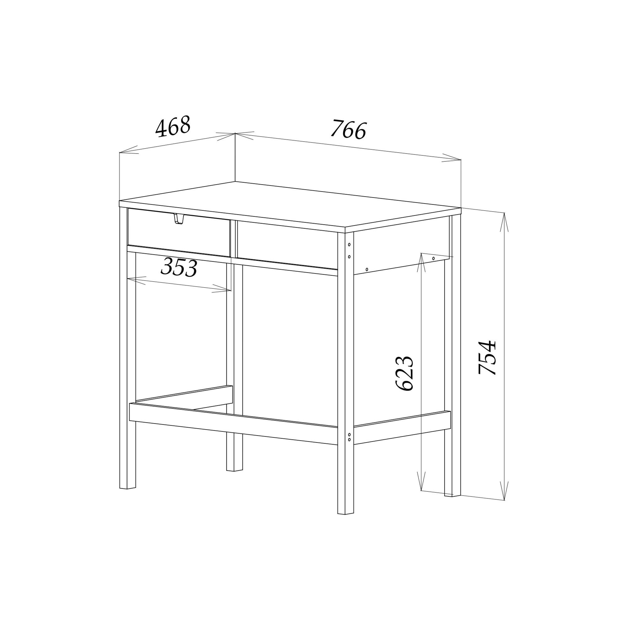 Туалетный столик из дуба, 76х47х76 см